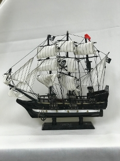 "Large Black Ship (12"") with White Sails"